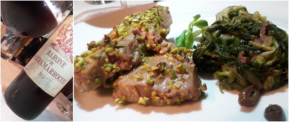 Barone di Serramarrocco 2012 con Tataki di tonno in crosta di pistacchio con tortino di scarola
