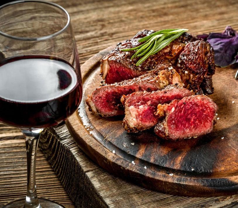 vino-rosso e carne