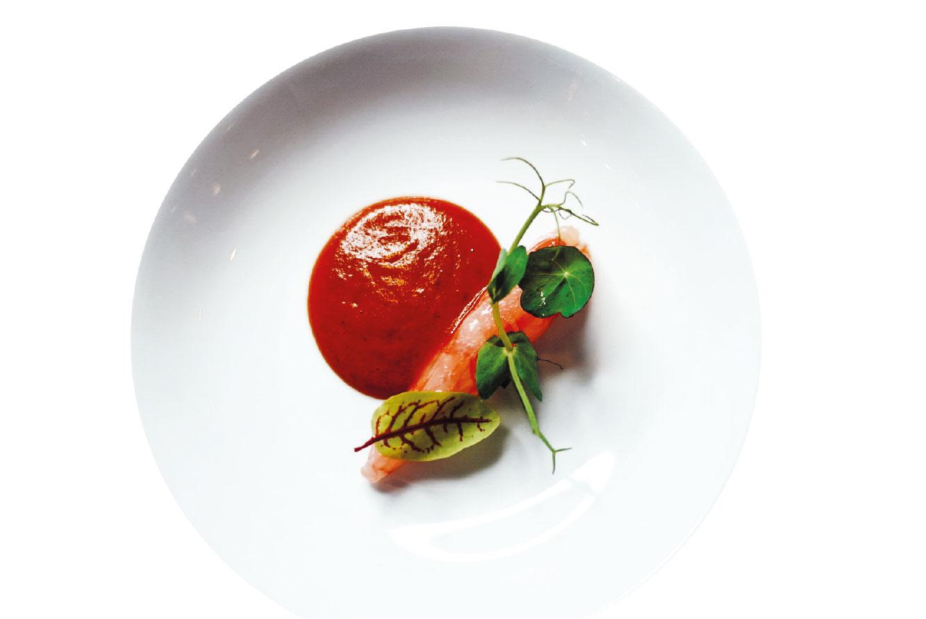 India: un piatto a base di gamberi dello chef Valerio Braschi del ristorante 1978 di Roma